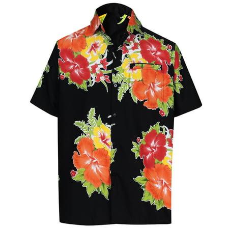 - Hawaiian Shirt Mens Beach Aloha Camp Party Holiday Short Sleeve Pocket Hibiscus Floral Print I