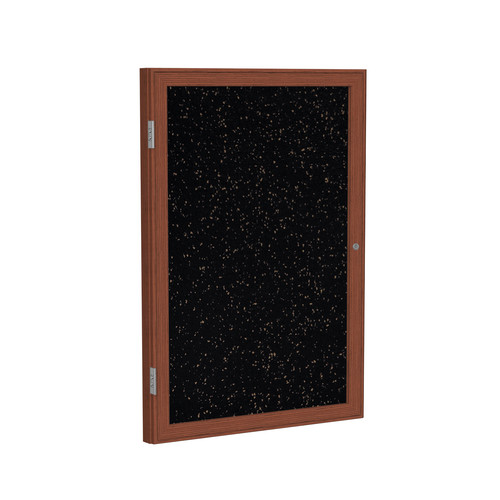 Ghent Ghent 1 Door Enclosed Recycled Rubber Bulletin Board with  Wood Frame