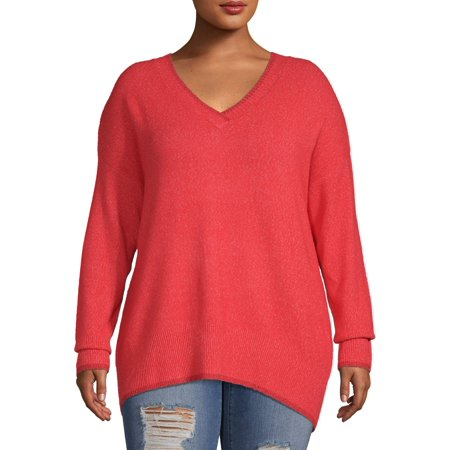 Concepts Women's Plus Size Long Sleeve V-neck Dropped Shoulder Sweater with Metallic Detail Plus Size Maternity Sweaters