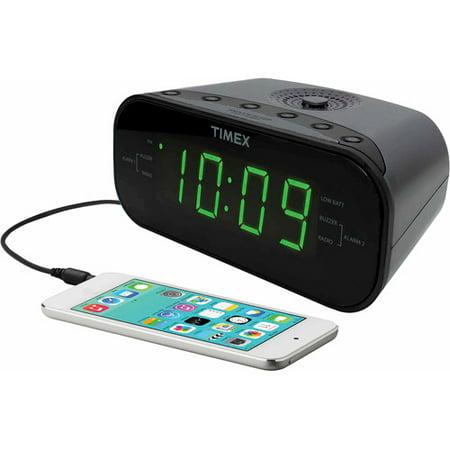 timex dual alarm clock am fm radio gunmetal. Black Bedroom Furniture Sets. Home Design Ideas