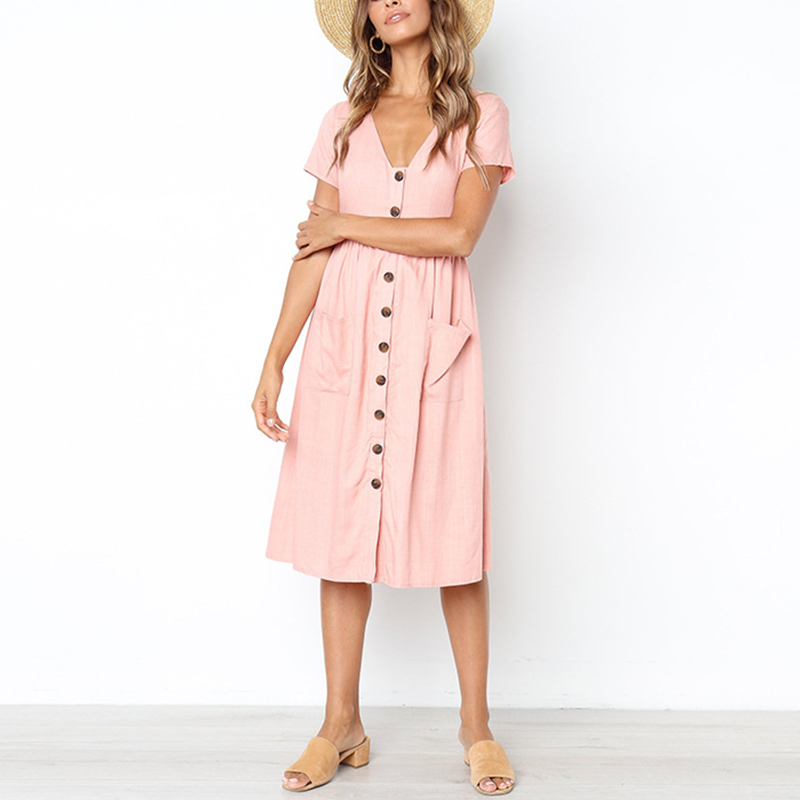 Women Ladies Button Polka Dot Irregular Hem Slip Dress V-Neck Holiday Maxi Dress