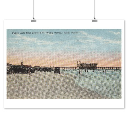 Daytona, FL - View of Beach with Cars & Swimmers (9x12 Art Print, Wall Decor Travel Poster) ()