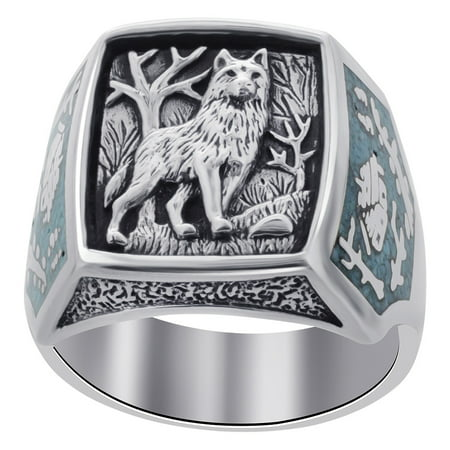 Men's 925 Sterling Silver Turquoise Gemstone Wolf Ring Southwestern (Sterling Silver Turquoise Stone Ring)