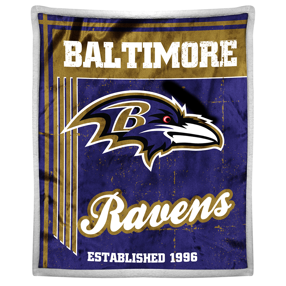 Baltimore Ravens NFL Mink Sherpa Throw (50in x 60in)