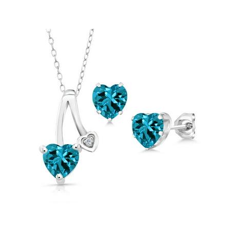 2.86 Ct London Blue Topaz White Topaz 925 Sterling Silver Pendant Earrings (Court Diamond Set)