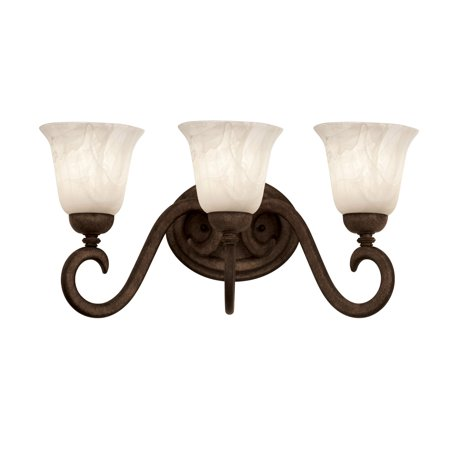 Bathroom Vanity 3 Light With Tortoise Shell Finished Antique Linen Glass E26 Bulb 25 inch 300 Watts
