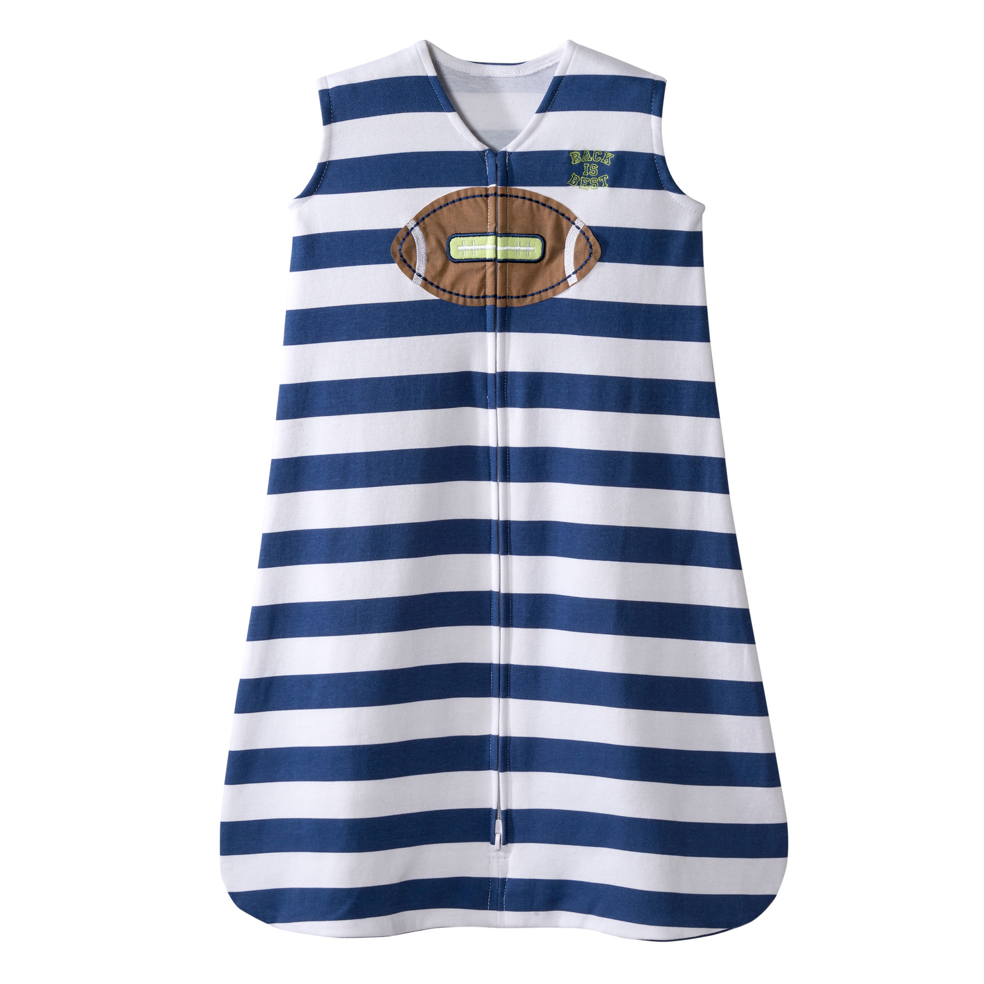 Halo Football Navy Blue Stripe Sleepsack Wearable Baby Blanket, Large