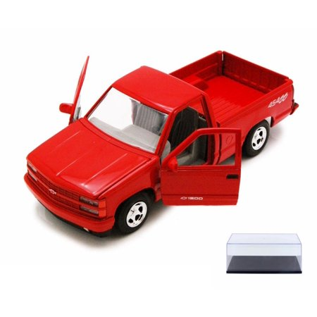 (Diecast Car & Display Case Package - 1992 Chevy 454SS Pick Up Truck, Red - Showcasts 73203 - 1/24 Scale Diecast Model Car w/Display Case)