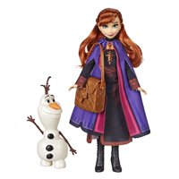 Disney Frozen 2 Anna Fashion Doll Playset with Buildable Snowman Olaf