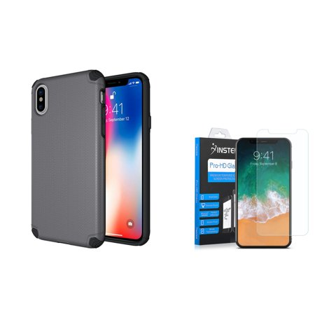 Insten Titan Hard Dual Layer Shockproof Plastic TPU Cover Case For Apple iPhone 10 iPhone X 2017 - Gray (Bundle with Tempered Glass Screen Protector)