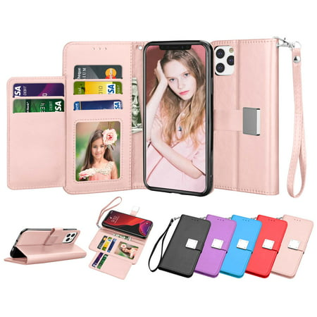 Tekcoo Wallet Cases for 2019 Apple iPhone 11 Pro Max / 11 Pro / 11 XI, Tekcoo Luxury PU Leather ID Cash Credit Card Slots Holder Purse Carrying Folio Flip Cover Buit in Kickstand -Rose