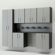 Flow Wall Systems  Silver 7 Piece Silver Cabinet Set