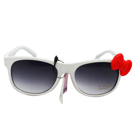 White Frame Tinted Lens UV 400 Protection Glasses With Red Bow ()