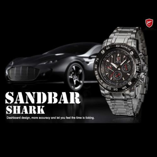 Shark Sport Watch Military 6 Hands Date Day Black Dial Stainless-Steel Chronograph Men's Sport Watch Wristwatch Analog Quartz SH015 (Gift for men)