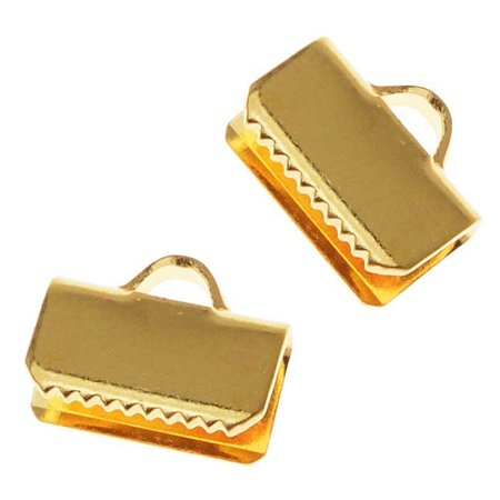 22K Gold Plated Ribbon Pinch Crimps Cord Ends 10mm or 3/8 IN. (Plated Ribbon End)