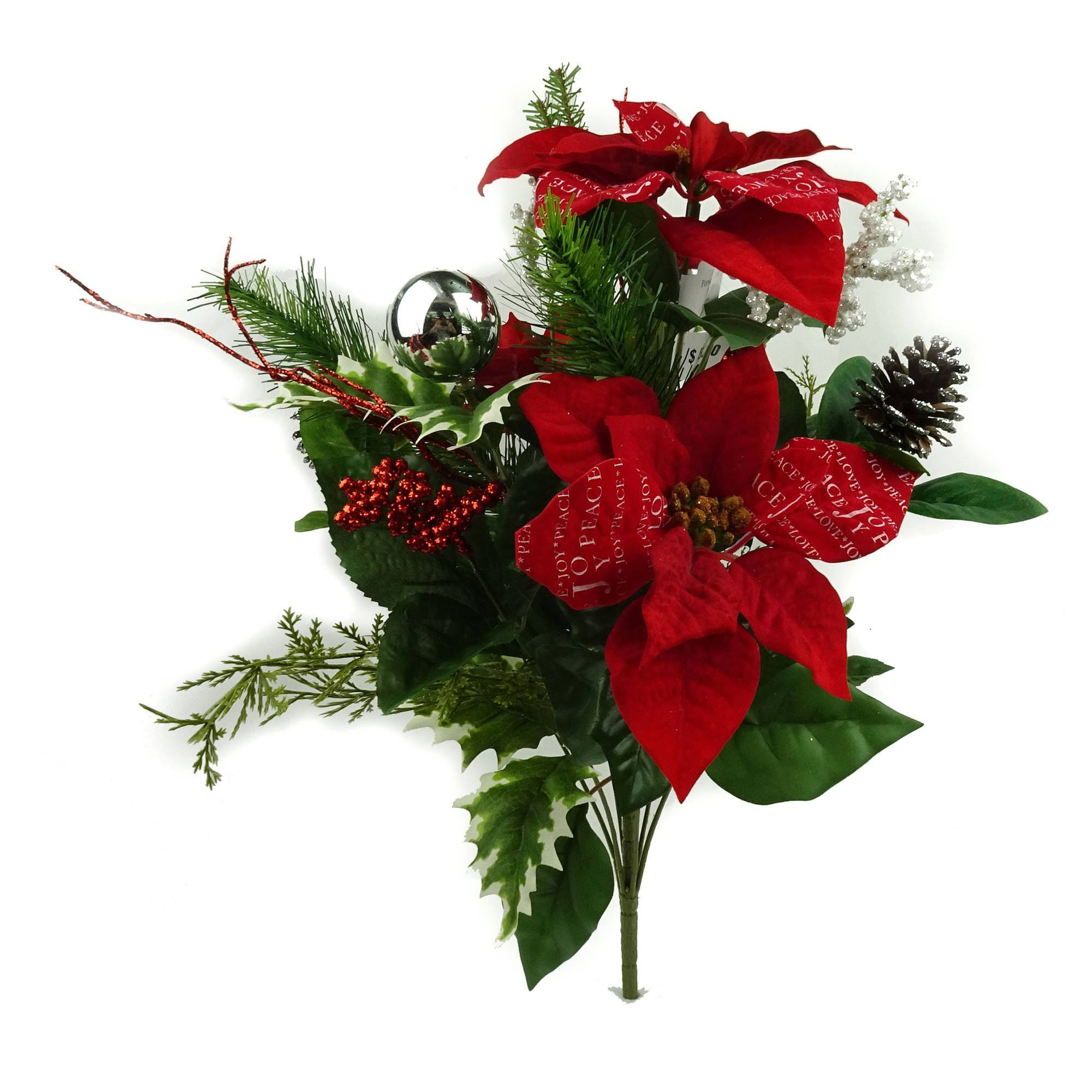 Red Poinsettia Script Mixed Bouquet