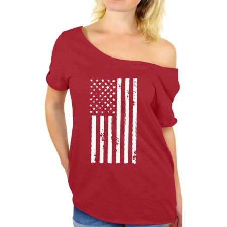 Awkward Styles American Flag Off the Shoulder T Shirts for Women USA Shirt Women's Patriotic Outfit USA Flag T Shirts 4th of July Tshirt Tops Independence Day Gifts USA Tee Shirts for Women - Arabian Outfits Ladies