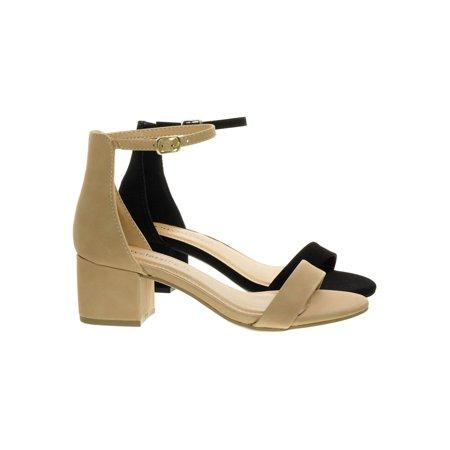 Weekend by City Classified, 2 Piece Low Chunky Block Heel Open Toe Dress Sandal w Ankle - High Heels Locking Ankle Strap