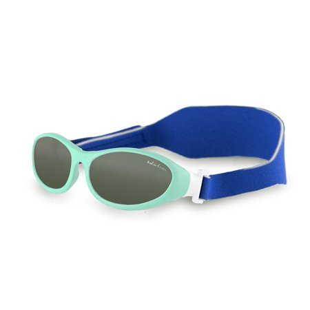 Baby Wrapz Baby Sunglasses  Toddler Sunglasses for Boys and Girls w/ 100% UV Protection - Soft Rubber Frame & Headstrap Plus Microfiber Travel Case - Baby Blue