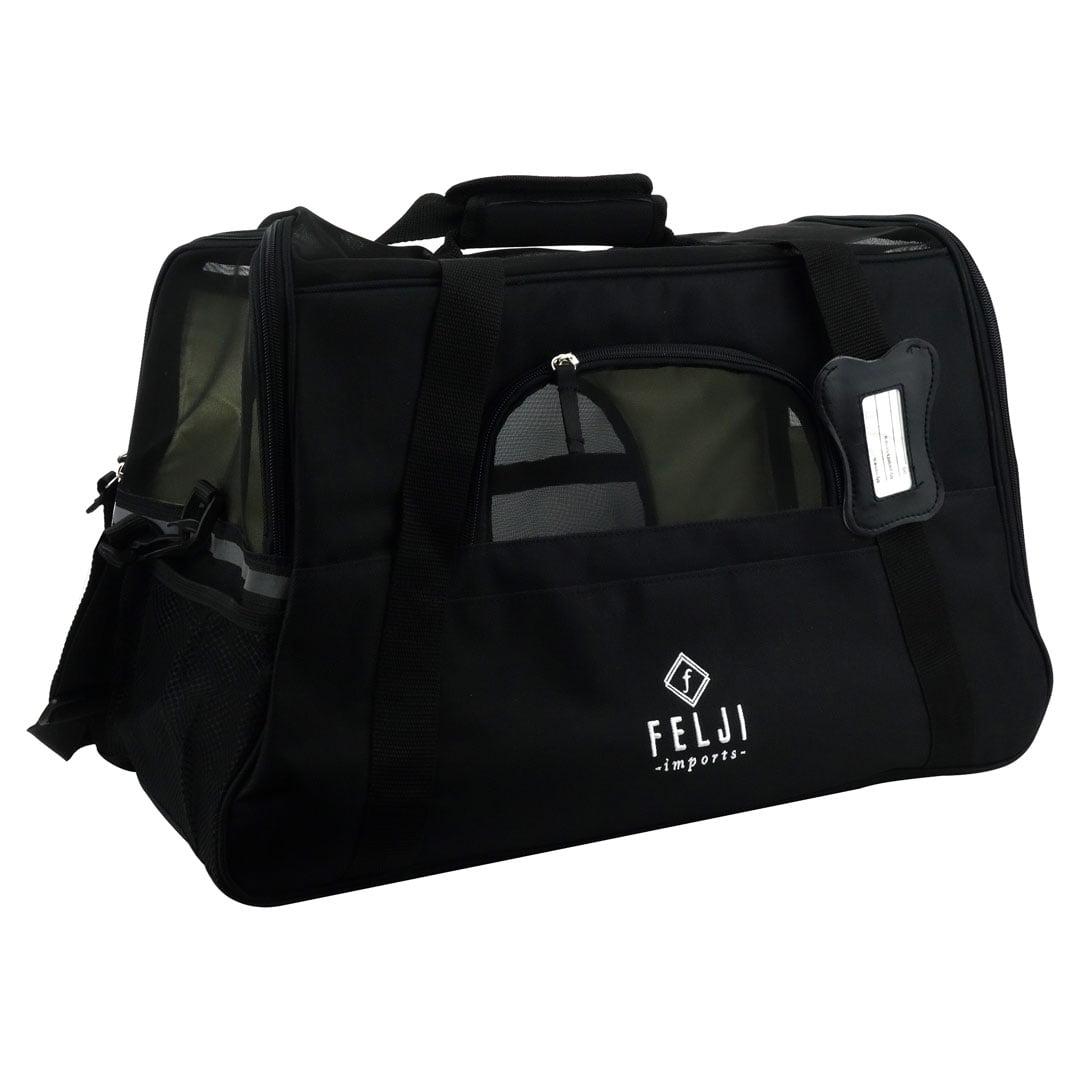 Felji Pet Carrier Cat Dog Airline Approved Fleece Bag Large Black by