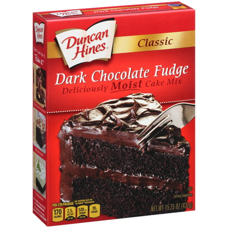 - (2 pack) Duncan Hines Classic Dark Chocolate Fudge Cake Mix 15.25 oz