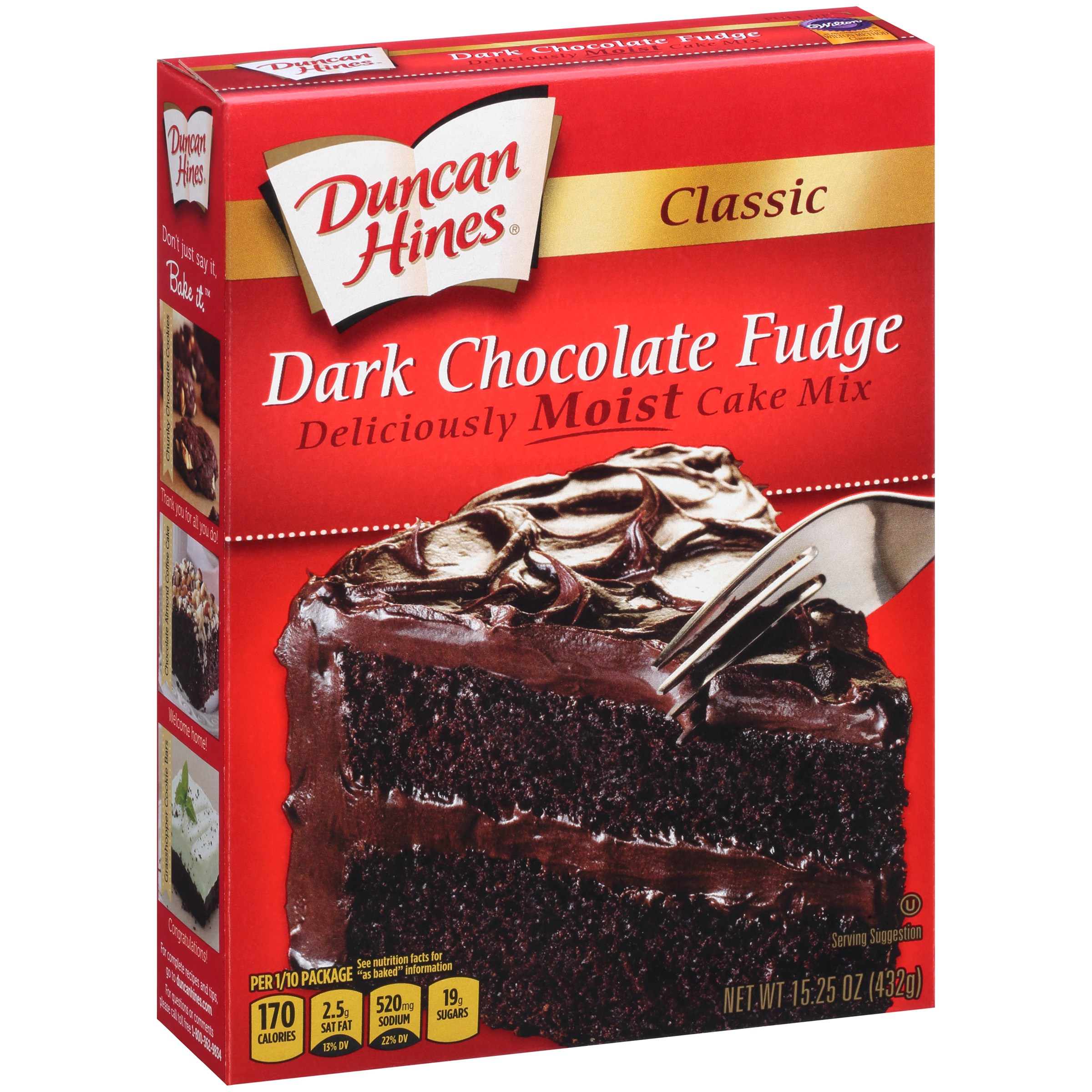 (12 Pack) Duncan Hines Classic Dark Chocolate Fudge Cake Mix 15.25 oz