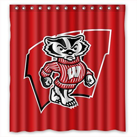 Deyou Wisconsin Badgers Shower Curtain Polyester Fabric Bathroom Size 60x72 Inches