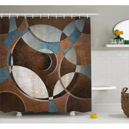 Abstract Shower Curtain, Grunge Vintage Style Contemporary Circular Round Geometric Figures Artwork, Fabric Bathroom Set with Hooks, Umber Slate Blue, by Ambesonne ()