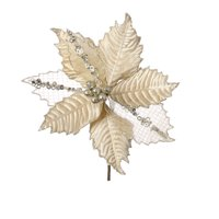 Darice Christmas Floral Gold Velvet Poinsettia Pick with Glitter 9 x 10.5 inches