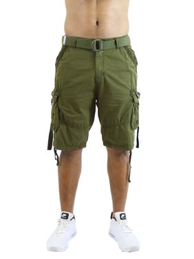 Men's Belted Cargo Shorts 100% Cotton Distressed Washed Style