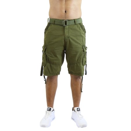Mens Cargo Shorts Belted Cotton Twill Flat Front Washed Utility Pockets Cotton Cargo Pocket Shorts