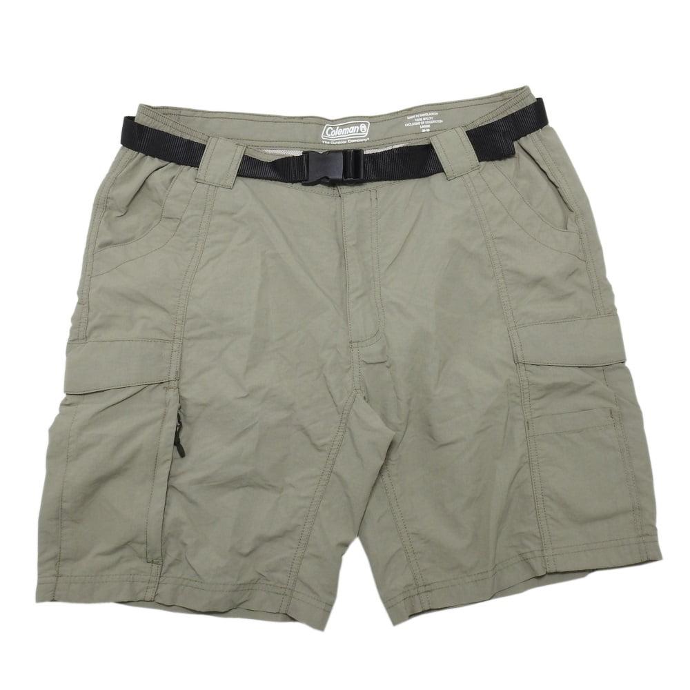 Coleman Men's Size X-Large (40-42) Lightweight Hiking Cargo Shorts & Belt, Eucalyptus