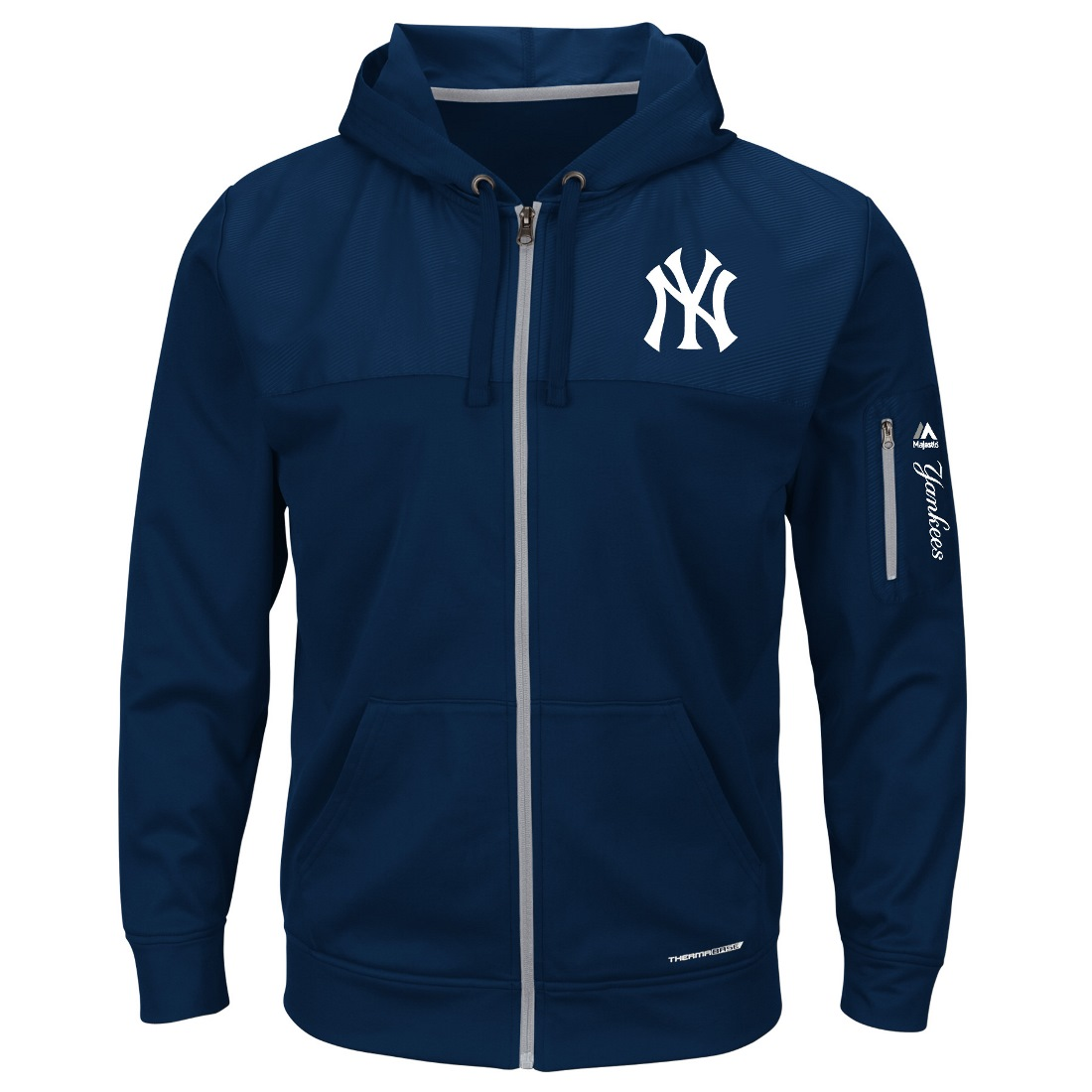 "New York Yankees Majestic MLB ""Payback"" Therma Base Full Zip Hooded Sweatshirt"