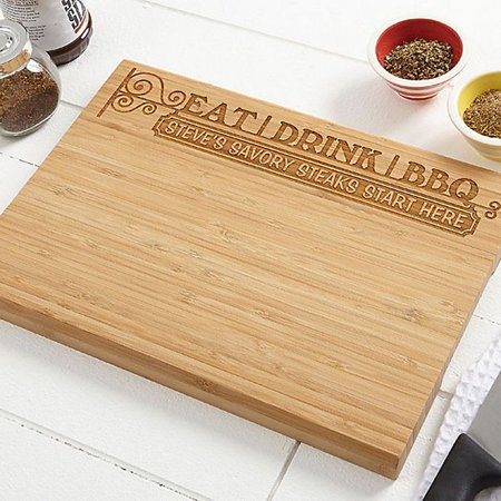 Eat, Drink & BBQ 10-Inch x 14-Inch Personalized Bamboo Cutting Board