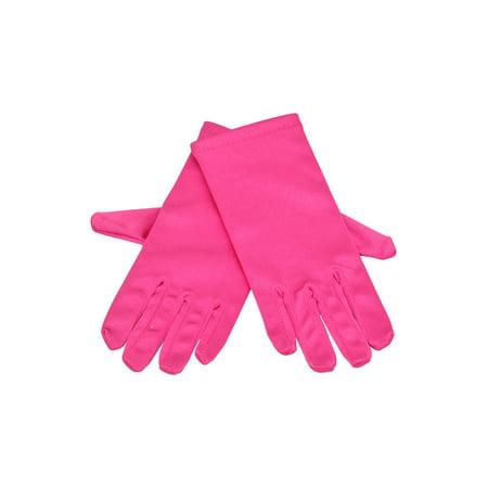 Little Girls Multi Color Satin Wrist Length Flower Girl Gloves 8-12