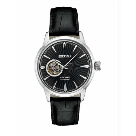 - Men's Presage 24 Jewel Automatic Leather Strap Watch