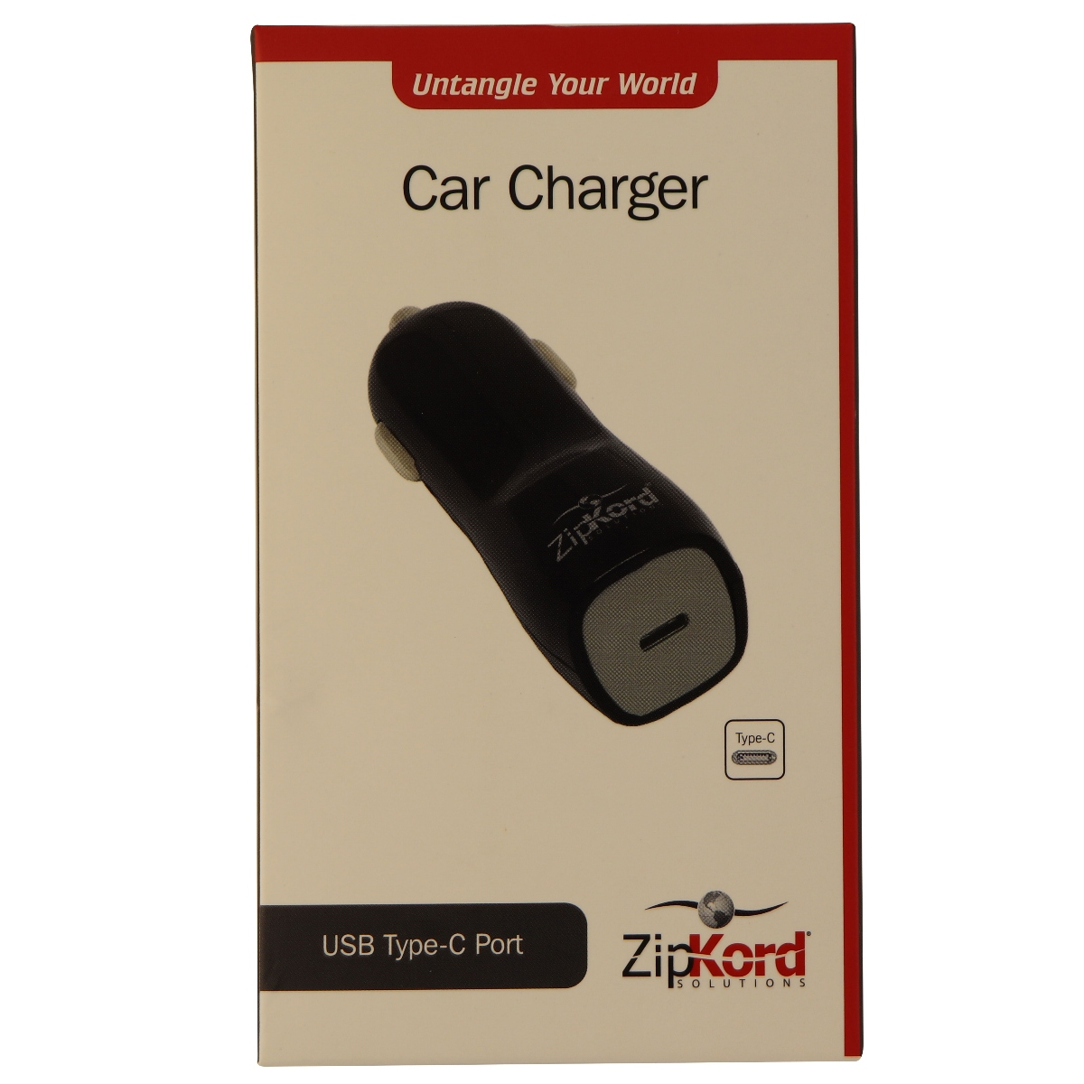 ZipKord 5V 3-Amp Vehicle Car Charger with USB-C (Type C) Port - Black/Gray