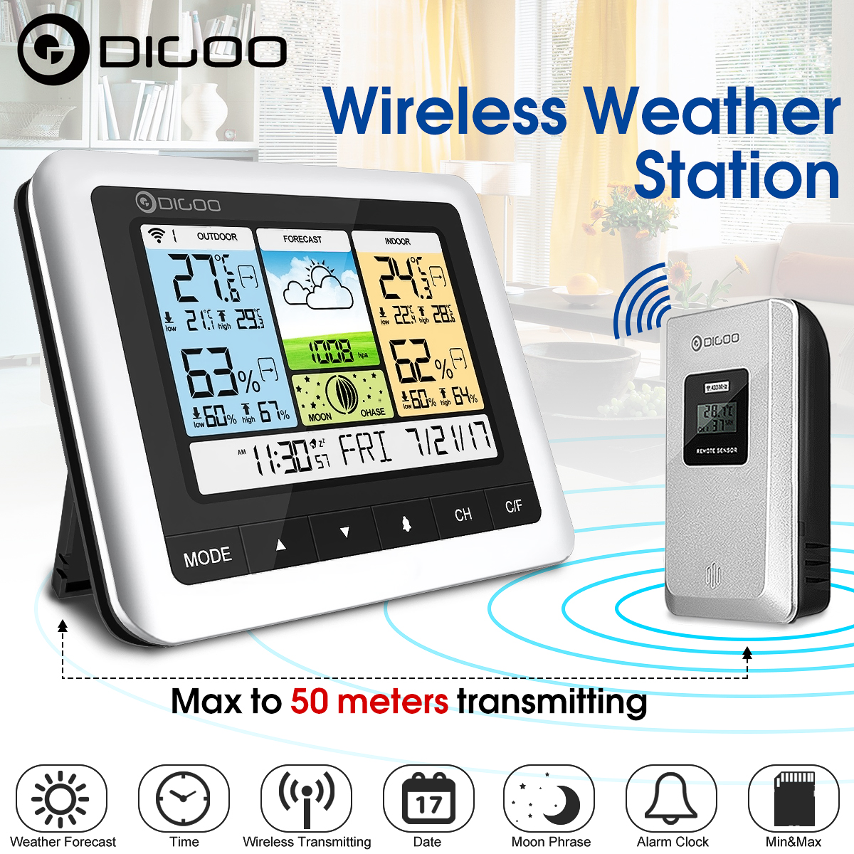 Digoo DG-TH8888 Colorful Wireless Weather Forecast Station with Sensor Indoor Outdoor Thermometer Hygrometer Barometer Snooze weather forecast Desk Alarm Clock Temperature Humidity Moon Phase Meter