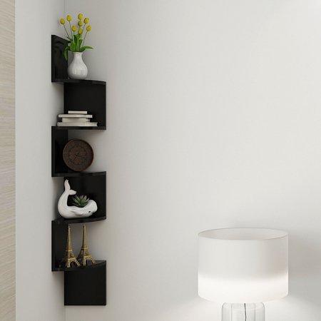 Costway Corner Shelf 5 Tier Wall Mount Unit Home Floating Storage Zig Zag Shelves Black