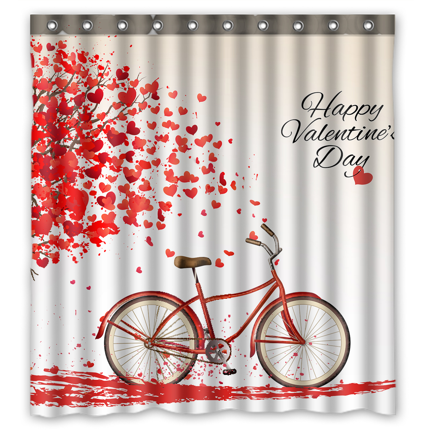 YKCG Tree Of Love Heart Valentines Day Bike Shower Curtain Waterproof Fabric Bathroom 66x72 Inches