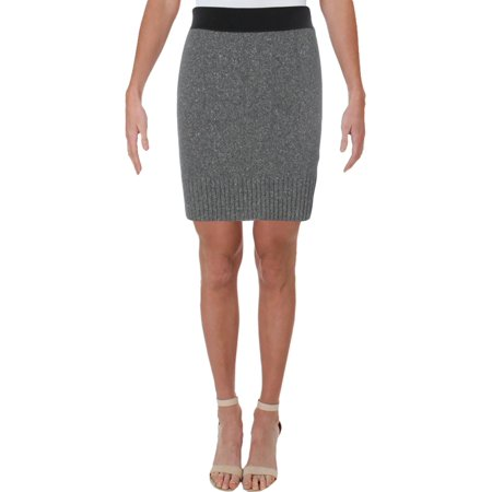 Rag & Bone Womens Wool Contrast Trim Pencil Skirt Gray S
