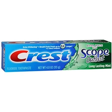 Extra White Plus Scope Mint - Crest Pls Sc Outlst Ex Wh Size 4z Crest Extra White Plus Scope Outlast Mint Toothpaste 4oz