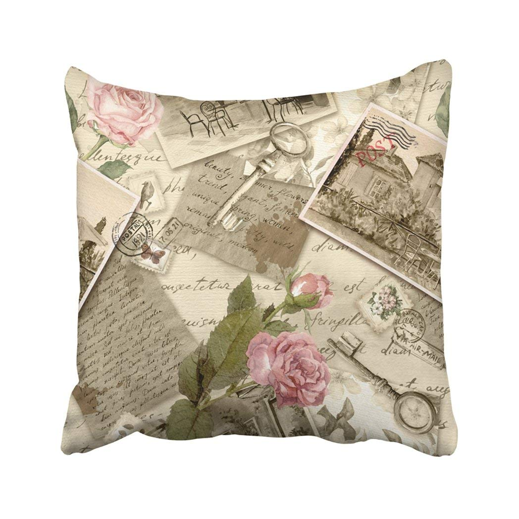 WOPOP Vintage Old With Hand Written Letters Photos Stamps Keys And Watercolor Rose Flowers Pillowcase Throw Pillow Cover Case 18x18 inches