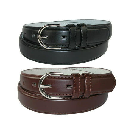 CTM®  Leather 1 1/8 Inch Dress Belt (Pack of 2 Colors) -