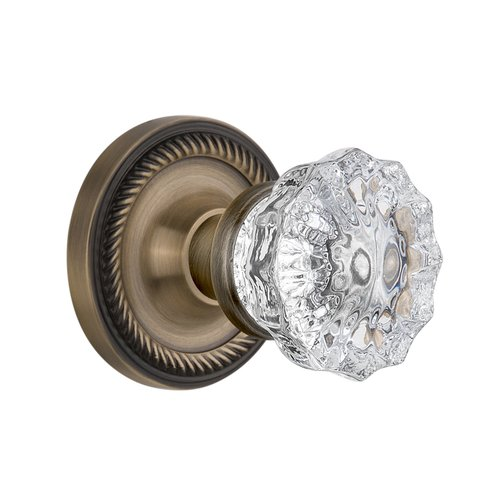 Nostalgic Warehouse Crystal Glass Interior Mortise Door Knob with Rope Rosette