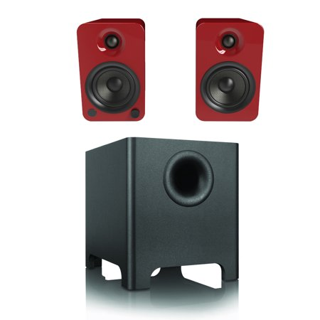 Kanto Yu4 Gloss Red 2 1 System With Yuri Subwoofer   Built In Bluetooth  Phono Preamp  Mini Jack   Rca Inputs
