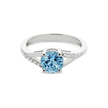 Sterling Silver Rhodium Plated Blue Topaz And White Topaz Split Shank Ring Size 9 ()