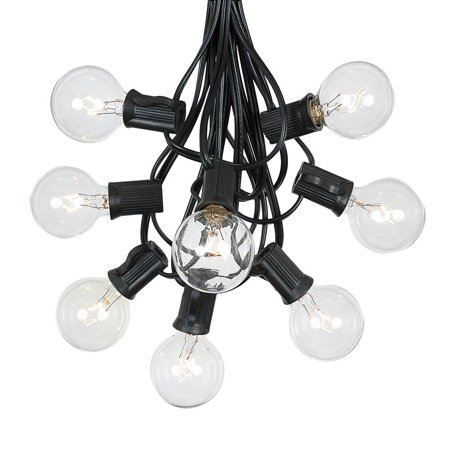 g40 patio string lights with 25 clear globe bulbs  outdoor string lights  market bistro caf hanging string lights  patio garden umbrella globe lights - black wire - 25 feet ()