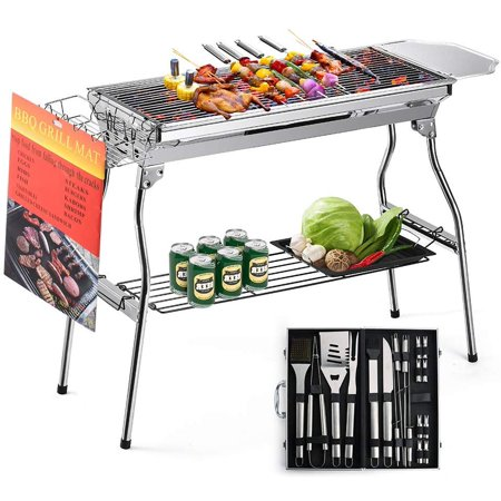 Image of BBQ Grill Tool Set Express Portable Stainless Steel Charcoal Barbecue Grill with 20pc Heavy Duty BBQ Grill Tool Set with Cooler Bag for Men in Aluminum Case