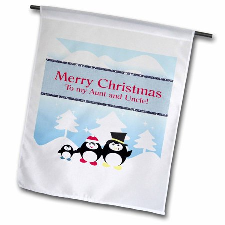 3dRose Penguin Family on a Winters Day, Merry Christmas, Aunt and Uncle - Garden Flag, 12 by 18-inch ()
